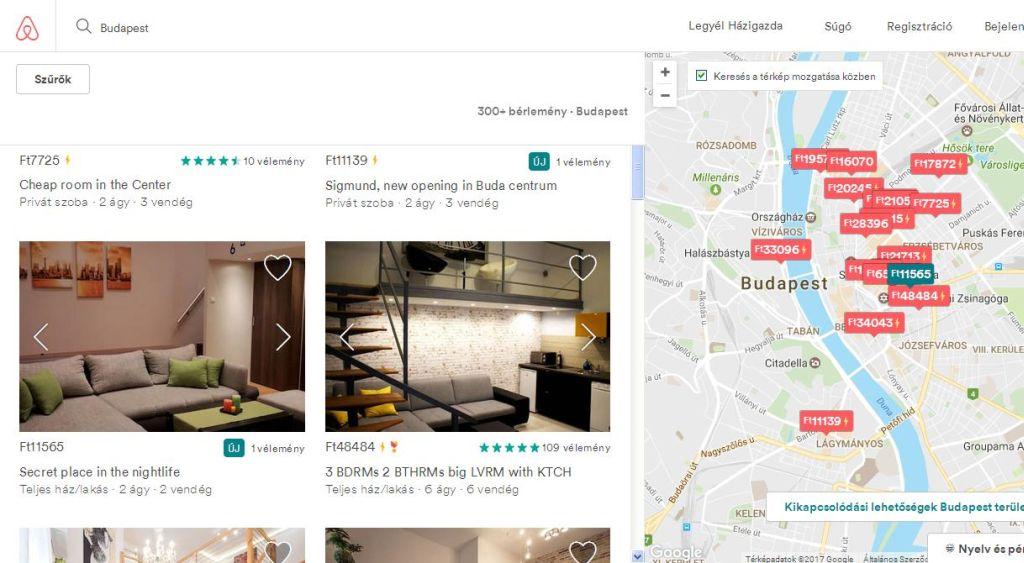 Felpörögtek az árak az Airbnb oldalán