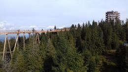 A 600 méter hosszú, 1,8 méter széles turistaút, két 6 százalékos emelkedőt tartalmaz, 24 méter magasban építették meg