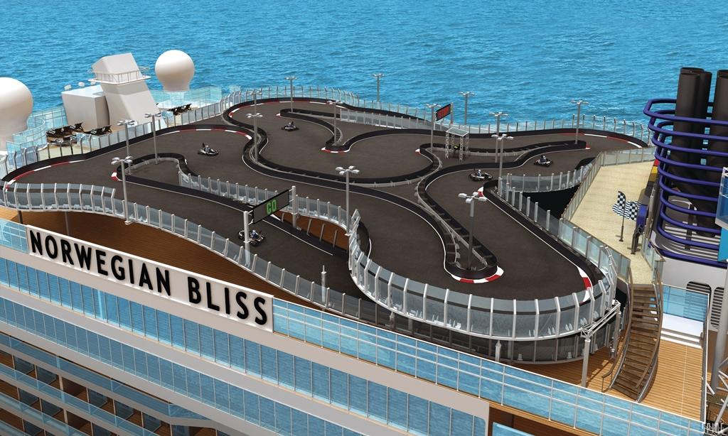A Bliss dicsekedhet majd azzal, hogy a világ legnagyobb gokart versenypályáját kínálja a tengereken